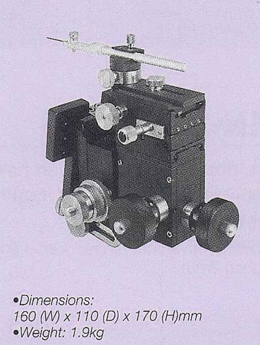 Three-Axis Coarse/Fine Micromanipulator for Installation on the Stage Side of a Microscope (with Tilting, Rotation Mechanism)