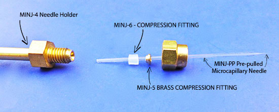 how to mount a capillary needle onto the MINJ-4 needle holder