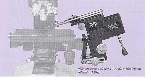 Three-Axis Coarse/Fine Joystick-Type Micromanipulator with Tilting Apparatus (Bracket Mount)