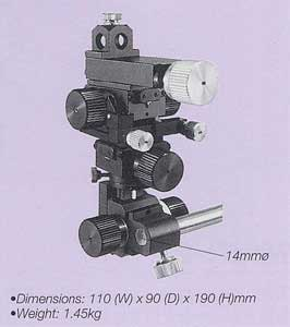 Three-Axis Coarse/Fine Micromanipulator (with Tilt and Pivot Mechanism)