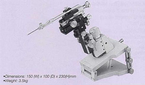Three-Axis Coarse/Fine Micromanipulator (with Tilting Mechanism)