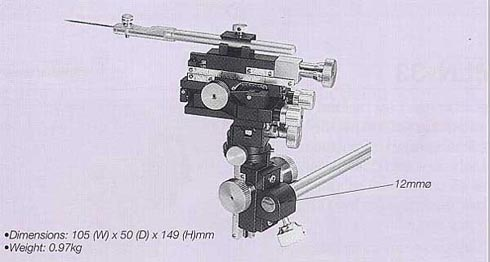 Miniature Three-Axis Coarse/Fine Micromanipulator (with Rotation,Pivot,Tilt Mechanism)