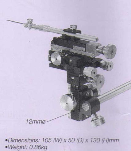 Miniature Three-Axis Coarse/Fine Micromanipulator (with Pivot,Tilt Mechanism)